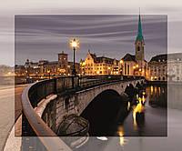 """Картина на стекле с МДФ подложкой """"Вид на Цюрих и старого центра города 50*60 см"""