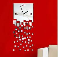 Часы с падающими квадратиками акриловые стикер на стену