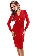 Женское трикотажное платье красного цвета с длинным рукавом и декольте, модель 18011 Enny