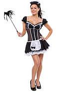 Эротический ролевой костюм горничной платье + фартук + чепчик Оks-676 /022 N