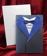 Пригласительные в виде синего пиджака с бабочкой, красивые и оригинальные свадебные приглашения