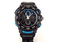 Часы спортивные G-Shock, мульти подсветка, черные с синим