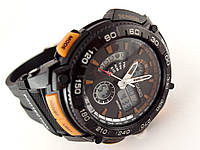Часы спортивные G-Shock, мульти подсветка, черные с оранжевым