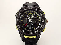 Часы спортивные G-Shock, мульти подсветка, черные с желтым