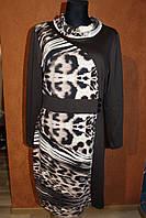 Платье трикотажное леопардовое большого размера, 50-54