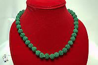 Бусы из лавового камня (зеленый) 10 мм.