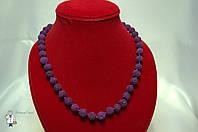 Бусы из лавового камня (фиолетовый) 10 мм.