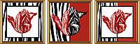 Схема для вышивки бисером триптих Красные тюльпаны