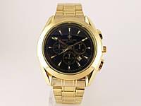 Мужские часы Patek Philippe - стальной браслет, темный циферблат, цвет золото