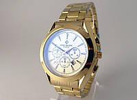Мужские часы Patek Philippe - стальной браслет, светлый циферблат, цвет золото