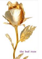 Роза золотая - бутон ( 24К ) подарок 25 см