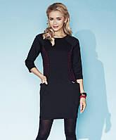 Стильное женское платье черного цвета с карманами. Модель Verna Zaps, осень-зима 2015