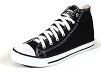 Кеды текстиль черые высокие мужские шнурок Converse, фото 1