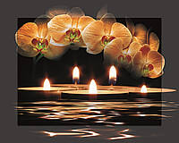 Картина на стекле с МДФ подложкой Орхидеи и свечи 40*50 см