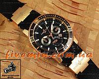 Мужские наручные часы Ulysse Nardin Maxi Marine Black Sea Chronograph Gold Black кварцевые с календарем