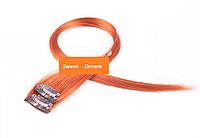Прямые фантастические красочные накладные пряди на заколках-клипсах, 2 шт в упаковке, цвет - оранжевый