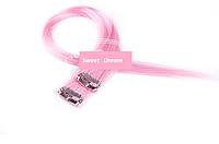 Прямые фантастические красочные накладные пряди на заколках-клипсах, 2 шт в упаковке, цвет - светло-розовый