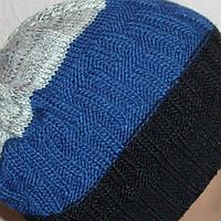 Мужская вязаная зимняя шапка в спортивном стиле