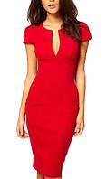 Элегантное красное платье, (короткий рукав), с треугольным вырезом декольте, Турция