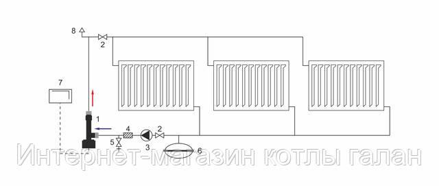 Схема подключения электрокотла «Галан» (принципиальная)