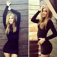 Молодежное платье-гольф черное, длинный рукав, трикотажное теплое
