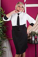 Женское платье-обманка больших размеров с галстуком, цвета в ассортименте