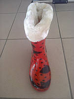 Резиновые сапоги утеплённые для девочек размер 28 - 32