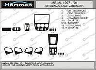 Накладки на панель Mercedes ML klass W163