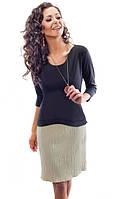 Женское трикотажное платье черного цвета с бежевой юбкой. Модель 18002 Enny