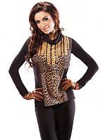 Женская туника черного цвета с леопардовым принтом и воротником-хомут 18036 Enny, коллекция осень-зима 2015