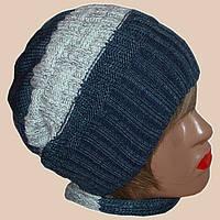 Женская вязаная зимняя шапка-носок на высокой резинке