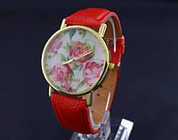 Красные женские часы Geneva с цветами