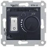 Термостат для теплого пола 10 А Белый (с датчиком 4м) Sedna (Шнейдер Электрик Седна) Черный