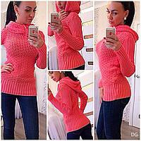 Женский свитер грубой вязки с капюшоном в расцветках В6