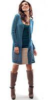 Женская вязаная накидка бирюзового цвета с длинным рукавом. Модель 18052 Enny, коллекция осень-зима 2015.