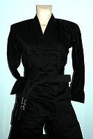 Кимоно для каратэ черное рост 130 - 200 см плотность 240 г/м2
