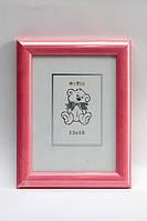 Рамка пластиковая 13х18 розовый в полоску ширина багета 24 мм