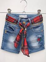 Шорты джинсовые для девочек Шефоновый красный пояс