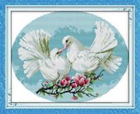 вышивка крестом с печатью на ткани Любовь и голуби 11ст
