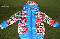 Детская куртка на девочку с цветочным принтом