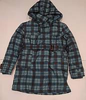 Куртка  для мальчика удлиненная в клетку