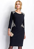 Женское трикотажное платье длиной по колено черного цвета с декоративными вставками. Модель РS46 Sunwear.
