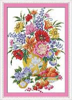 Ваза с цветами и фрукты Набор для вышивания крестиком с печатью на ткани  канва 11СТ
