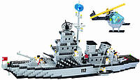 """Детский конструктор Brick 112 """"Военный корабль"""" 870дет."""