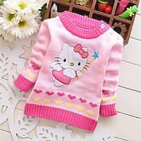 Детский розовый вязаный свитер Hello Kitty