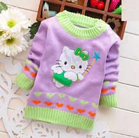 Детский сиреневый вязаный свитер Hello Kitty