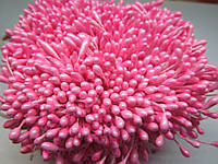 Тычинки для цветов круглые,  упаковка - 50 шт. (пучок из 25 двухсторонних нитей) Ярко-розовые