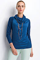 Женская кофточка цвета джинс с воротником-хомут. Модель Р90 Sunwear, коллекция осень-зима 2015.