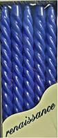 Свеча синяя спиральная декоративная 10шт