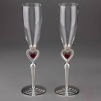 """Свадебные бокалы """"Сердца"""" на  металлической ножке, красивые и оригинальные свадебные бокалы"""